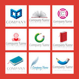 Company Logos. An illustrated set of various education related company logos, isolated on a red background Royalty Free Stock Image