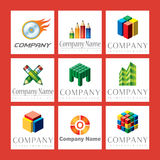 Company Logos. An illustrated set of colorful company logos, isolated on a red background Stock Photo