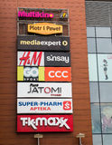Company logos. POZNAN, POLAND - FEBRUARY 16, 2013: Different company logos on a wall of the Malta shopping mall Royalty Free Stock Image