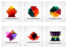 Company logos, paper geometric icon set Royalty Free Stock Photo