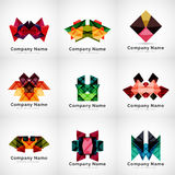 Company logos, paper geometric icon set Royalty Free Stock Image