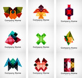 Company logos, paper geometric icon set Royalty Free Stock Photos