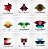 Company logos, paper geometric icon set Royalty Free Stock Images
