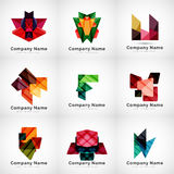 Company logos, paper geometric icon set Stock Photos