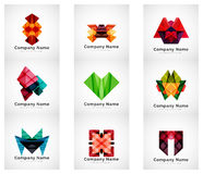 Company logos, paper geometric icon set Stock Photo