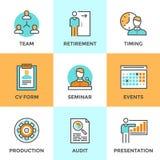 Company management line icons set Stock Image