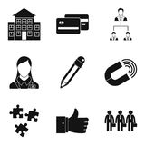 Company manufacturer icons set, simple style. Company manufacturer icons set. Simple set of 9 company manufacturer vector icons for web isolated on white Royalty Free Stock Photos