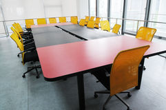 The company meeting room. With big wood table and chairs Royalty Free Stock Photos