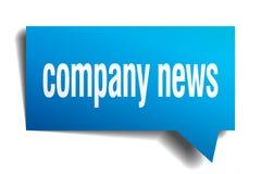 Company news blue 3d speech bubble. Company news blue 3d square isolated speech bubble Royalty Free Stock Photo