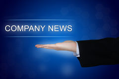 Company news button on blue background Royalty Free Stock Photo
