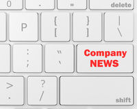 Company News. Computer keyboard with word Company News, 3d rendering Stock Photos