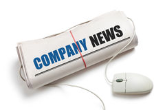 Company News. Computer mouse and Newspaper Roll with white background Stock Image