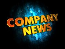 Company News Concept on Digital Background. Company News Concept - Golden Color Text on Dark Blue Digital Background Stock Photo