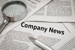 Company news headline Stock Photo