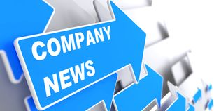 Company News. Information Concept. Company News - Information Concept. Blue Arrow with Company News slogan on a grey background. 3D Render Stock Images