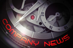 Company News on Old Watch Mechanism. 3D. Royalty Free Stock Photo