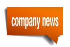 Company news orange 3d speech bubble. Company news orange 3d square isolated speech bubble Royalty Free Stock Photography