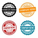 Company News Round Stamp Collection. Eps10 Vector Badge stock illustration