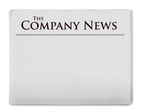 Company news title on newspaper Stock Photo
