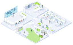 Company Office Rooms Isometric Vector Interiors royalty free illustration