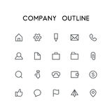 Company outline icon set. Pencil, file, phone, chat, mail, folder, briefcase, paper clip and others simple vector symbols. Business and contacts signs Royalty Free Stock Photo