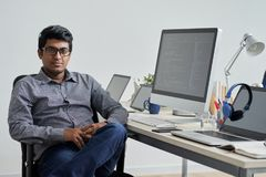 It company owner. Portrait of confident Indian It company owner royalty free stock photo