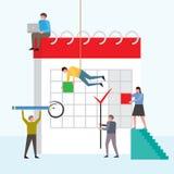 Company people planning operation, circle mark on calendar. vector illustration
