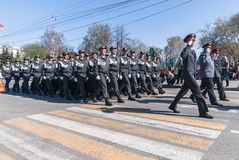 Company of police officers march on parade Royalty Free Stock Photos