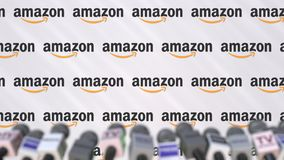 AMAZON company press conference, press wall with logo and mics, conceptual editorial 3D rendering royalty free stock photos