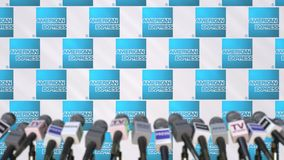 AMERICAN EXPRESS company press conference, press wall with logo and mics, conceptual editorial 3D rendering royalty free stock photography