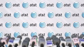 Media event of ATT, press wall with logo and microphones, editorial animation