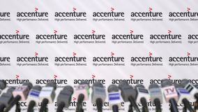 Press conference of ACCENTURE, press wall with logo and microphones, conceptual editorial 3D rendering stock photos