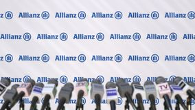 Press conference of ALLIANZ, press wall with logo and microphones, conceptual editorial 3D rendering royalty free stock image