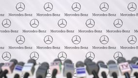 Press conference of Mercedes-Benz company, press wall with logo and microphones, conceptual editorial animation stock footage