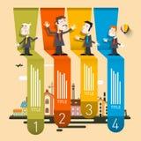 Company Profile Infographic. Four Steps Retro Vector Infographics stock illustration