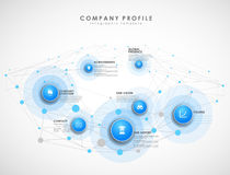 Company profile overview template with blue circles Royalty Free Stock Image