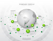 Company profile overview template with green circles Stock Photo