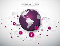 Company profile overview template with purple circles Stock Photography