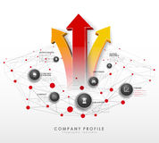 Company profile overview template with red circles Royalty Free Stock Photo