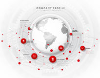 Company profile overview template with red circles Royalty Free Stock Photos