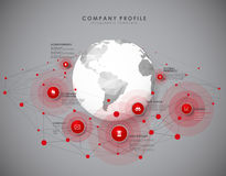 Company profile overview template with red circles Stock Image