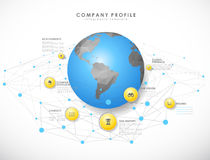 Company profile overview template with yellow circles Stock Photo