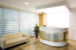 Company reception area. Interior of the modern reception area in company stock photos