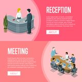 Company reception and business meeting banners Royalty Free Stock Images