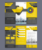 Company Report Flyer Templates. Company report flyer template on grey background flat isolated vector illustration Stock Photography