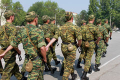 A company of Russian soldiers marching on the parade ground Royalty Free Stock Photos
