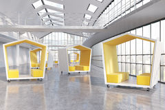 Company's lobby. Yellow pentagonal waiting areas in big city company's office lobby. Panoramic windows. Concept of waiting and negotiations. 3d rendering Royalty Free Stock Photography