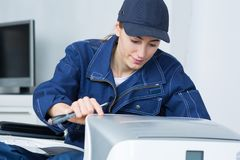The company`s maintenance crew. Work stock images