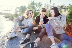 Company school friends teens of different ethnic nationalities s royalty free stock images