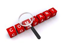 Company search sign. Magnifying blocks over the top of letter blocks spelling the word company, white background Royalty Free Stock Photos